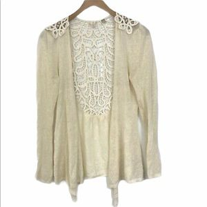 Anthropologie Knitted & Knotted lace back cardigan